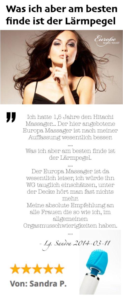 """""""Ich hatte 1,5 Jahre den Hitachi Massager... Der hier angebotene Europa Massager ist nach meiner Auffassung wesentlich besser.  .... Was ich aber am besten finde ist der Lärmpegel. .... Meine absolute Empfehlung an alle Frauen die so wie ich, im allgemeinen Orgasmusschwierigkeiten haben. ...."""" - Sandra P, 2014.03.11, German owner of #EuropeMagicWand wand massager. #5outof5 stars for @EuropeMagicWand. Get more info at www.europemagicwand.de"""