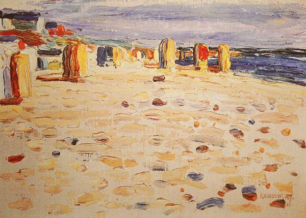ART & artistas: Wassily Kandinsky -1904 Praia cestas em óleo sobre papelão Holanda 24 x 32.6 cm