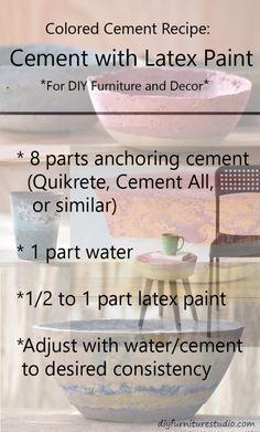 Receta para la pintura de látex teñida de cemento Muebles y decoración.
