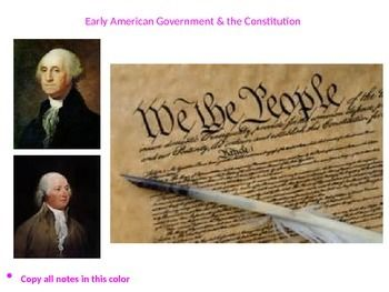 This PointPoint presentation has definitions, pictures, animations, sound bytes and multimedia aspects on the early republic era. Subjects included: the Articles of Confederation, Northwest Ordinance, Shays' Rebellion, the Constitutional Convention, an indepth analysis of the Constitution (supremecy clause, separation of powers etc.), the Bill of Rights, The Washington presidency, the Whiskey Rebellion, Adams' presidency, the XYZ Affair & the Alien and Sedition Acts (1783-1802...