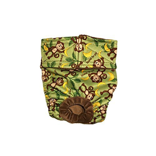 Wateproof Dog Diapers  Made in USA  Monkey and Bananas on Green Premium Fully Waterproof PUL Washable Dog Diaper XL for Dog Incontinence Housetraining and Females in Heat ** You can get more details by clicking on the image. (This is an affiliate link) #DogHousebreakingSupplies
