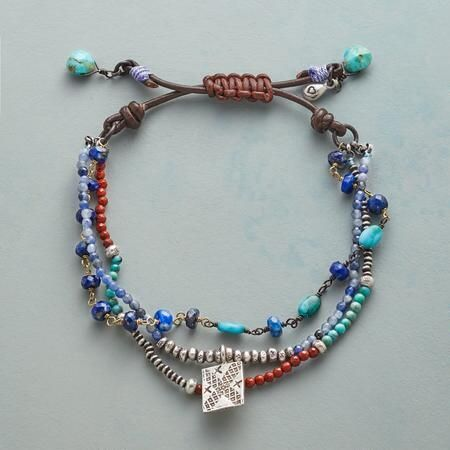 CALL OF THE WEST BRACELET - Shades of Western skies and canyon lands are evoked in a bracelet that combines lapis, turquoise, red jasper and stamped Thai silver.