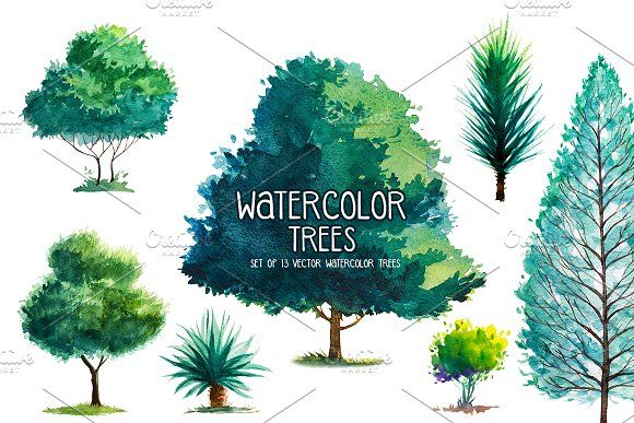 Watercolor Trees by AlexGreenArt on @creativemarket