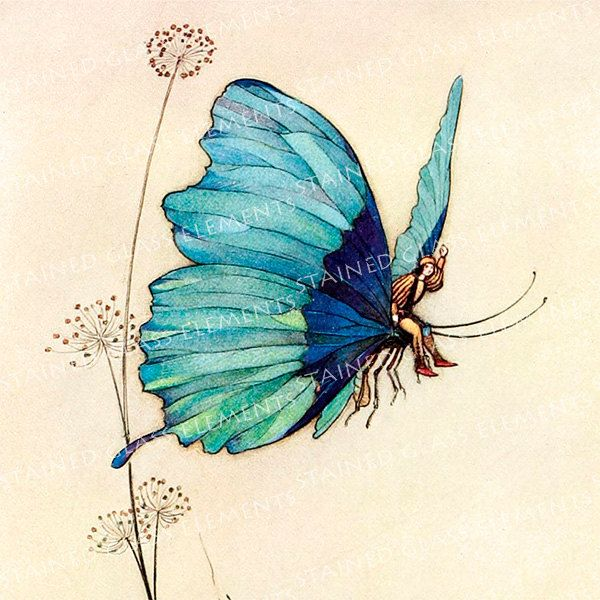 Warwick Goble ceramic decal, 10 x 10cm (3.94 x 3.94 inch), firing temperature 760-850 ºC (1400-1562 ºF), butterfly ceramic decal, fairy door StainedGlassElements op Etsy