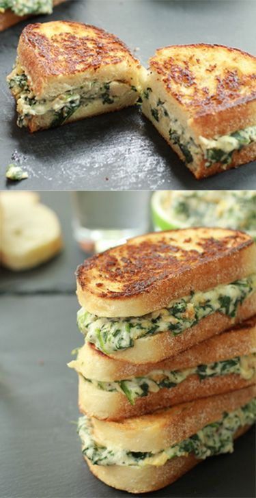 Best gameday recipes and gameday snacks. Spinach and Artichoke Grilled Cheese #gameday #recipes #food
