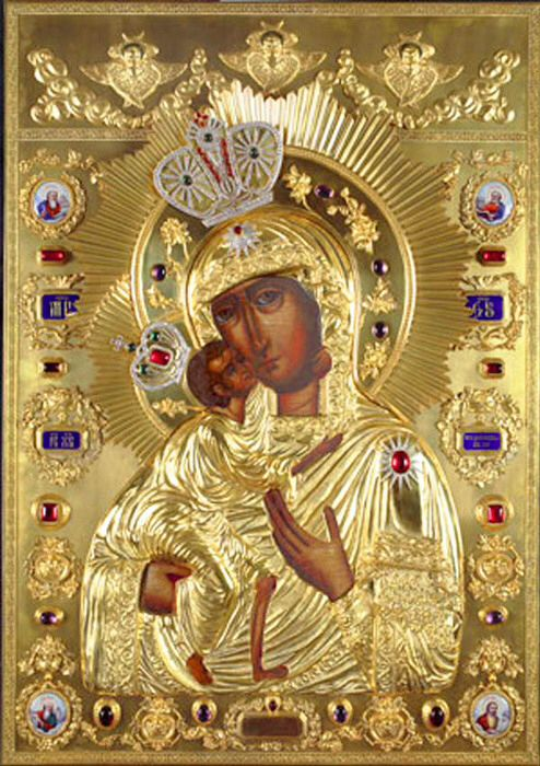 Why did Alexandra Feodorovna and Marie Feodorovna of Russia get the name Feodorovna? The answer is in this icon, it is Feodor's miraculous icon of Our Lady, said it was drawn by Luke The Evangelist.This icon was given to Grand Prince of Kostroma, Russia by St Feodor The Warrior in 1239.First Tzar from the Romanovs,a 16-year old Mikhail was blessed to Russian throne by this icon in 1613. Last Russian Empress Alexandra Feodorovna was murdered in 1918, she wore this icon's replica