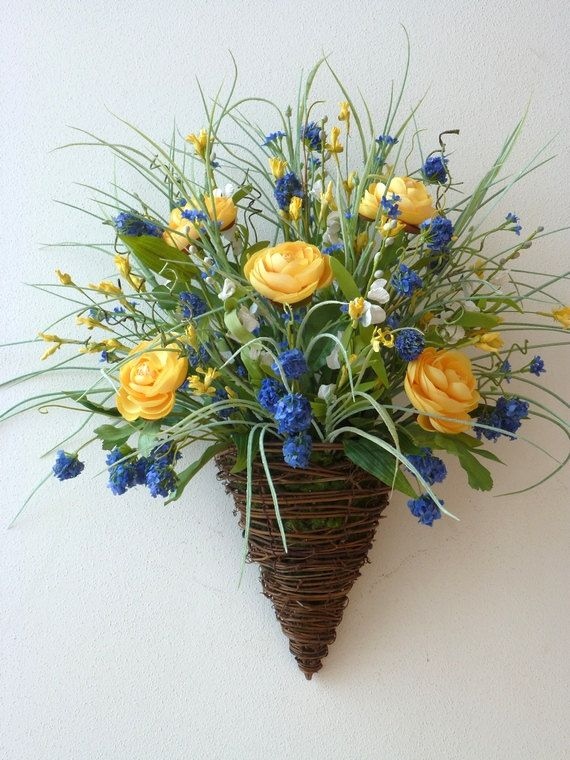 Vine cone wall basket blue yellow white silk paper flowers French country ranunculus artificial grass fillers moss wreath