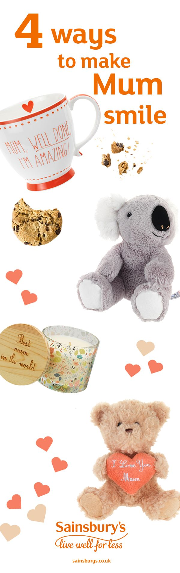 Make mum smile with cute Mother's Day gifts. Cuddly toys, candles, tea cups and mugs, chocolates and more. We've got something for every mum.
