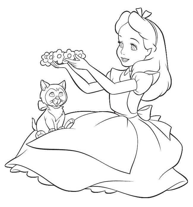 cartoon design alice in wonderland coloring pages from disney - Cartoon Colouring In Pictures