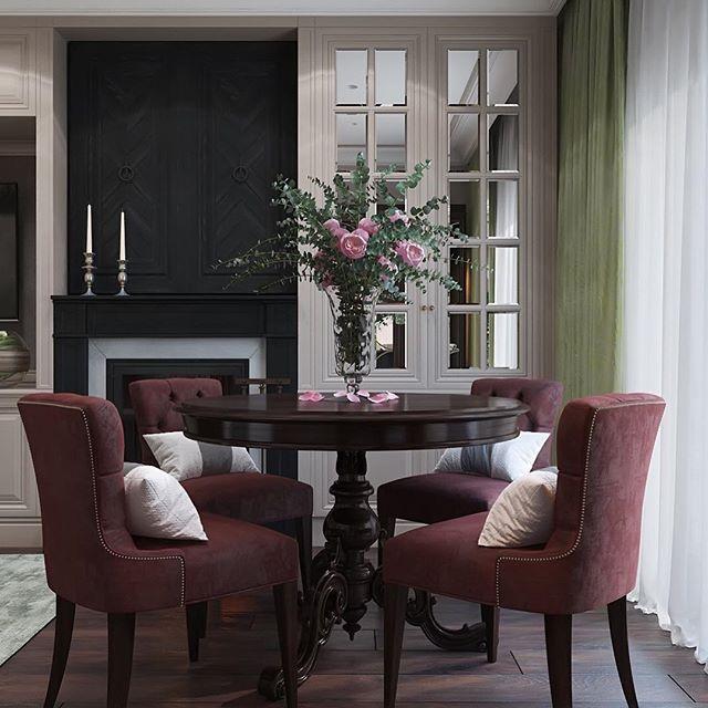 А пока я гуляю по Вероне, для Вас интерьер ягодной гостиной в Санкт-Петербурге ☺️ Зона столовой и характерный камин  для уютных вечеров  #диана_тараканова #дизайнгостиной #интерьергостиной