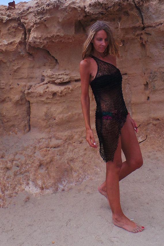 Asymmetrical sheer knit dress / Black dress por ileaiye en Etsy