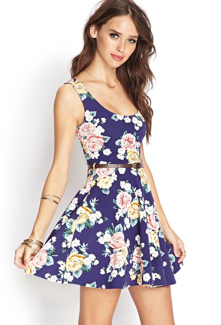 Rose Print Skater Dress   FOREVER21 #SummerForever