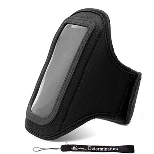 Extreme Sports Exercise Stretchy Black Armband with 8 Secure Adjustable Sizes ( Adjustable from 11 inches up to 19 Inches ) for Apple iPhone 4 , 4th Generation, 4th Gen compatible with 16GB / 32GB - HD Print + Includes a eBigValue Determination Hand Strap. Washable Armband, (Normal Mode) Suitable for Apple iPhone 4 (will also fit well with iPhone 3G). Made out of soft neoprene and suede, Strap its also a little stretchy. Complete access to all ports to your iPhone, also easy to access…