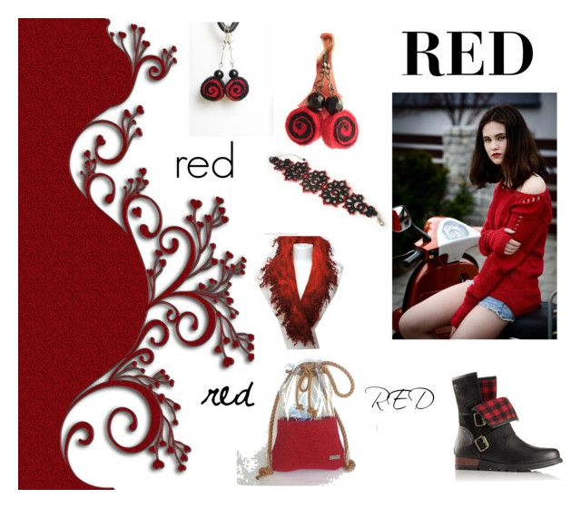 """Red"" by marudafelting on Polyvore featuring moda, Whit, SOREL, isabellwoolstudio i MarudaFelting"