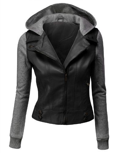 Doublju Double Layered Hooded Faux Le... $29.99