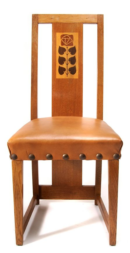 Ludwig Hohlwein, German poster artist, side chair, c. 1905, in the style of M H Baillie Scott