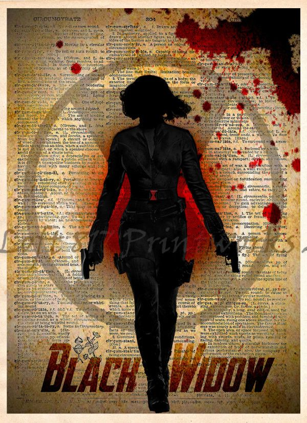 Black Widow, Avengers art, Vintage Silhouette print, Retro Super Hero Art, Dictionary print art