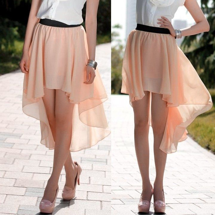 Asymmetrical Hem Chiffon Skirt