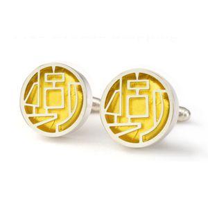 Victoria Varga Sterling silver & 23 karat gold leaf abstract maze cuff links. $185.00. www.victoriavarga.com