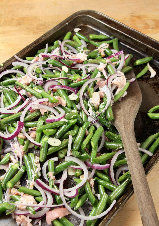 Roasted Green Beans with Pancetta, Red Onions and Garlic from Stir Cooking School — Creative Culinary - Food & Cocktail Recipes - Denver, Colorado