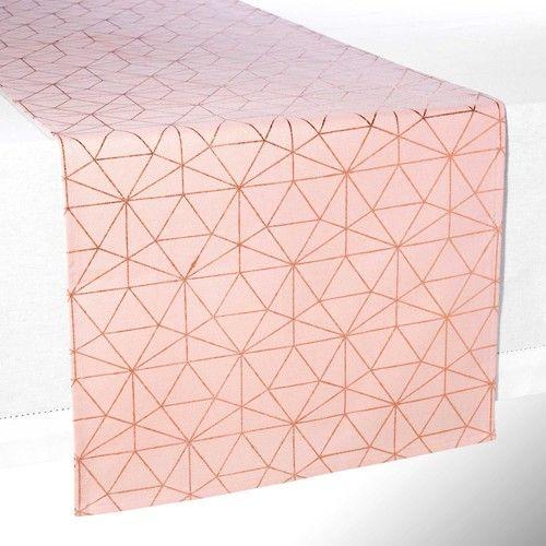 Chemin de table en coton rose L 180 cm MAGIX