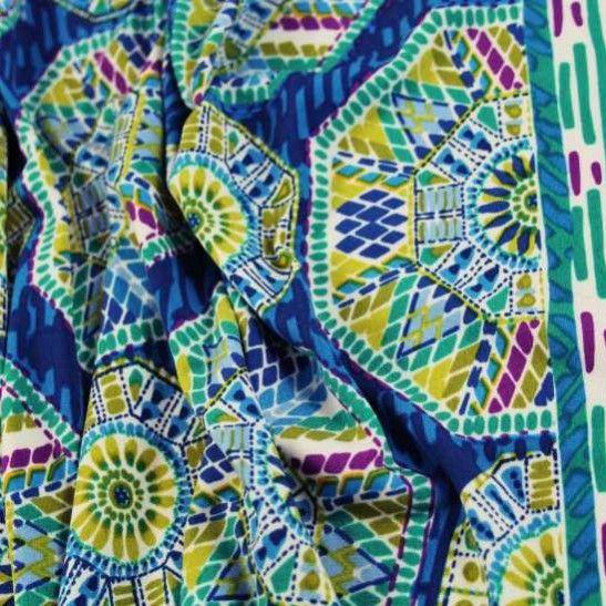 Mad for Medallions Border ITY Jersey - Blue Tones - Gorgeous FabricsGorgeous Fabrics