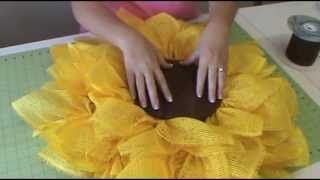 sunflower paper mesh wreath - YouTube