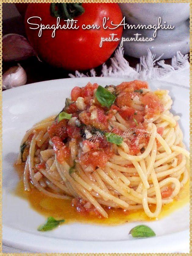 Spaghetti con l'Ammoghiu pesto pantesco (Spaghetti with tomato basil, garlic, almonds, Pesto Pantelleria Sicily)