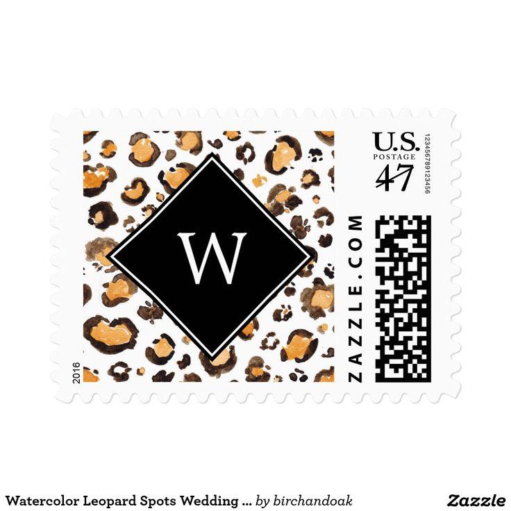 Watercolor Leopard Spots Wedding Monogram Stamp