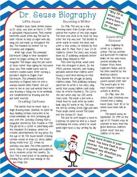 Dr. Seuss Biography Nonfiction Close Reading Passage