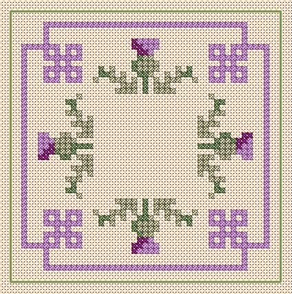 A Girl As Mad As Birds: Happy New Year! - Free Cross Stitch Charts.  Thistle Pattern