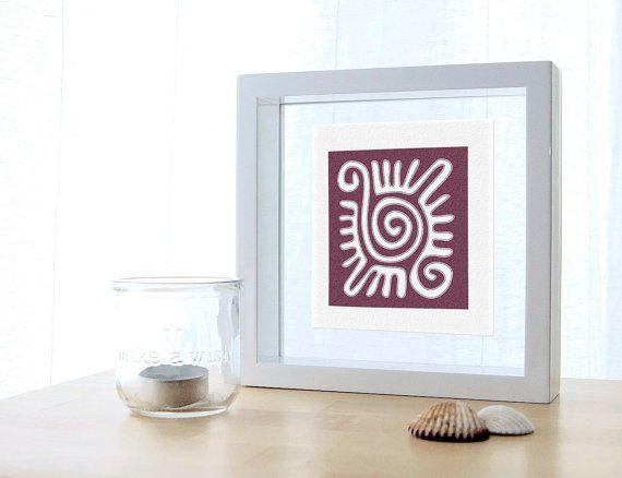 Ethnic Sun Print in Purple and white for Shelves por ColorsforNuna