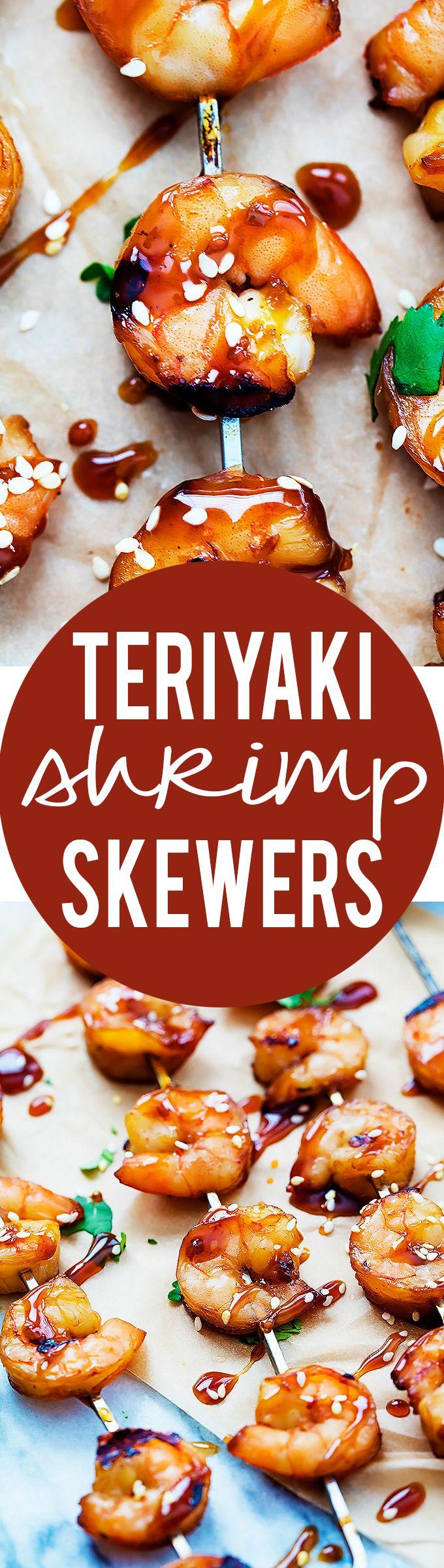 Teriyaki Shrimp Skewers | Creme de la Crumb