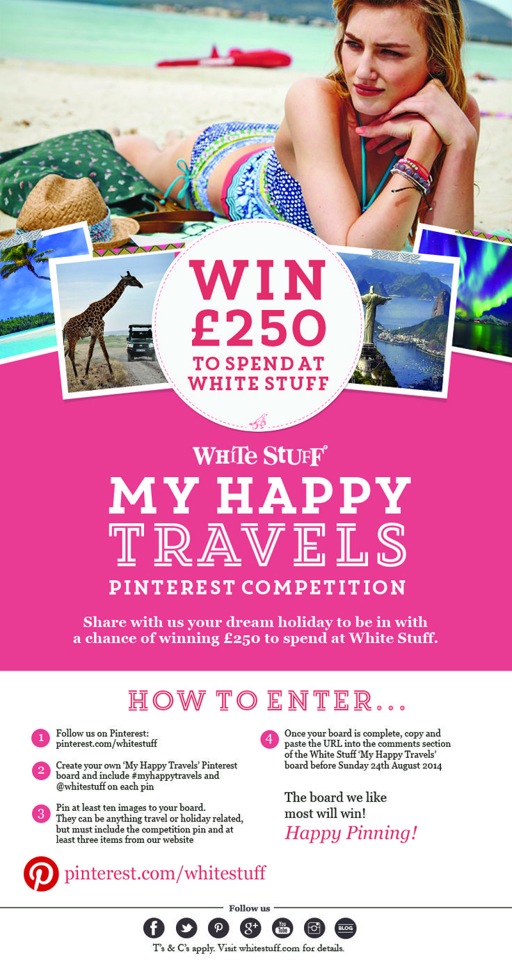 Here's all you need to know to enter! #myhappytravels #travel #competition  http://www.whitestuff.com/happy-travels-comp/ c/d 24/8