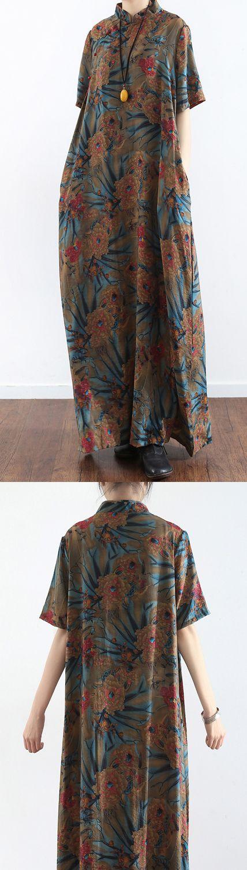 prints casual linen short sleeve maxi dress