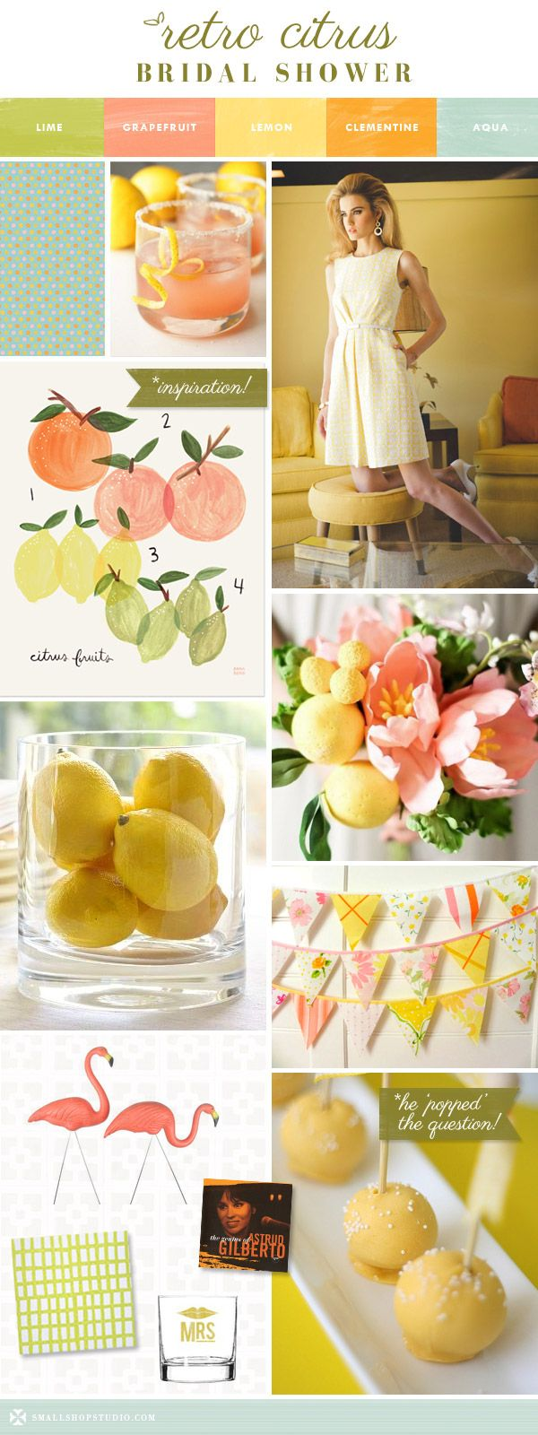 small shop: retro citrus bridal shower, lemon yellow, grapefruit, orange, lime, aqua, Trina Turk, flamingos, Astrud Gilberto, bossa nova, bunting, cocktails, cake pops