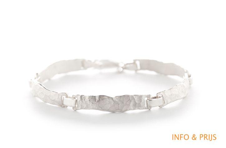 Armband gehamerd zilver