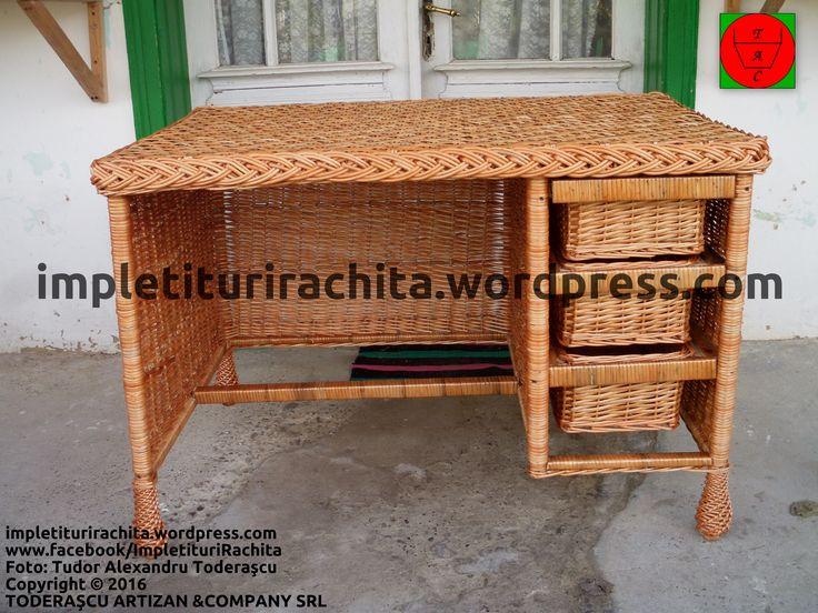birou din nuiele de răchită cu sertare