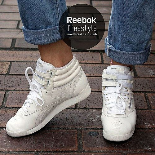 Perfect pair of reebok freestyle hi in classic white
