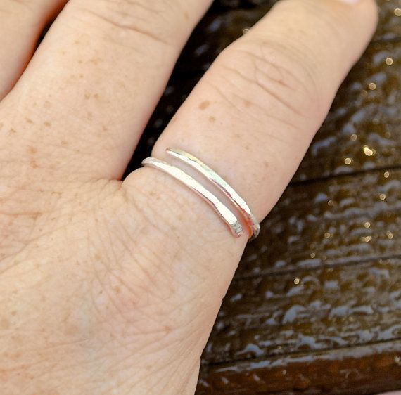 Wire Ring Simple Hammered Silver Ring Non by LorisWireJewelry, $10.00