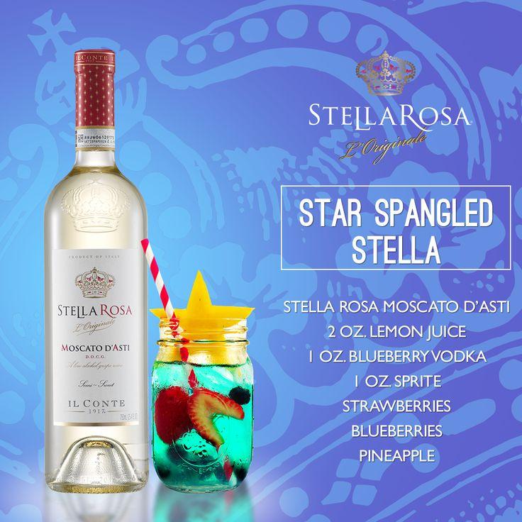Stella Rosa Wines original cocktail recipe: Star Spangled Stella. -- Combine strawberries, blueberries, pineapple, 2 oz. lemon juice, Stella Rosa Moscato d'Asti, 1 oz. blueberry vodka and 1 oz. sprite.
