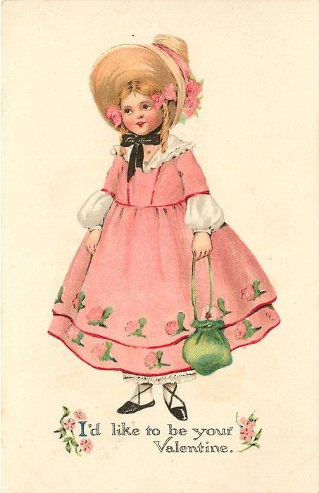 I'D LIKE TO BE YOUR VALENTINE  girl in pink dress, carrying green bag