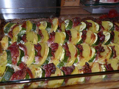 Cuketu a oloupané brambory nakrájíme na kolečka, slaninu rozkrojíme na velikost cukety a brambor. Skládáme střídavě do pekáče, osolíme opepříme,...