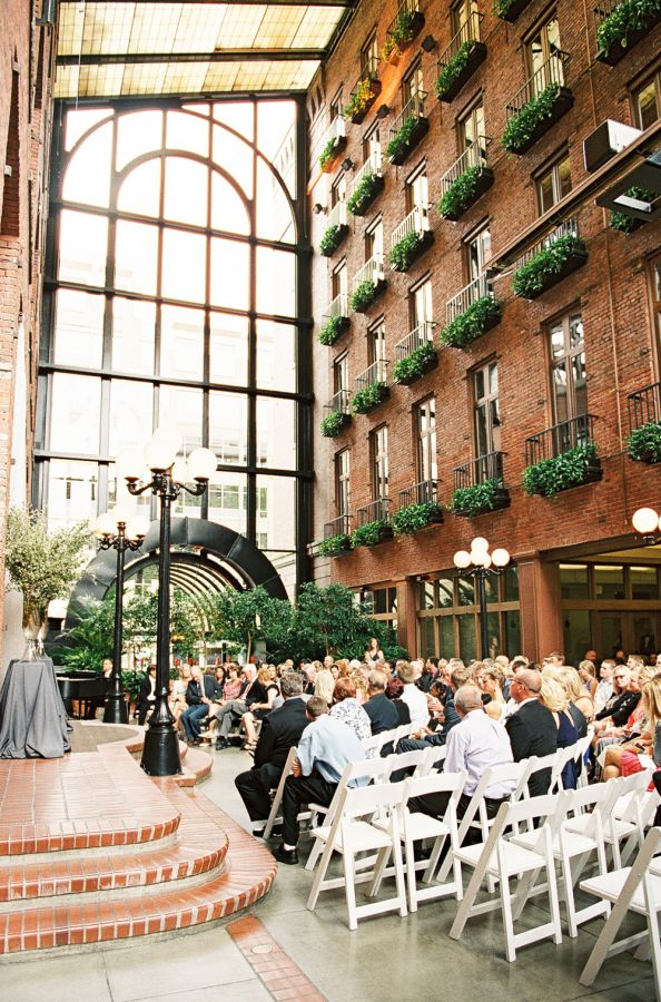 Love the indoor/outdoor feel!!! Photography:O'Malley Photographers Ceremony Venue:Court In The Square