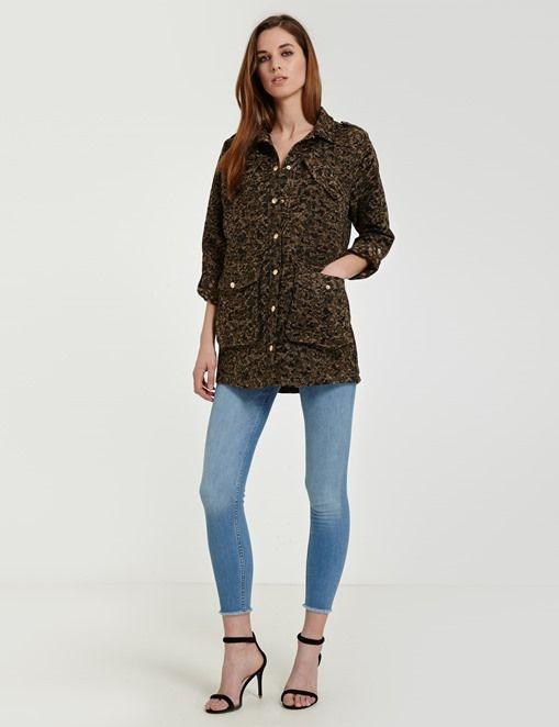 Parka loose en toile camouflage Morgan pas cher prix Boutique Morgan 120.00 €