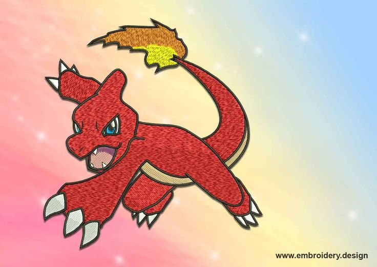 Charmeleon Pokemon embroidery design – 2 sizes - downloadable by EmbroSoft on Etsy