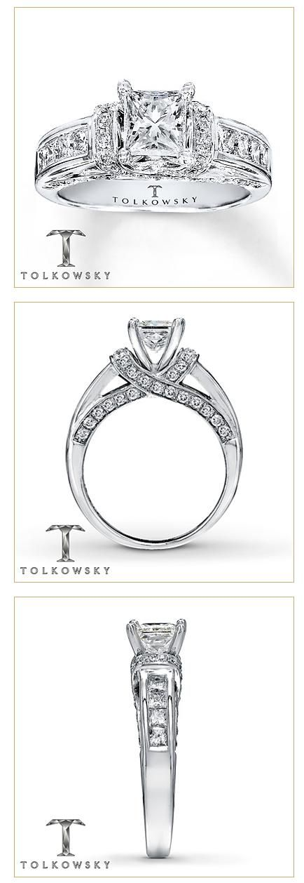 Beautiful from any angle – this engagement ring features a Tolkowsky Princess Ideal Cut Diamond.
