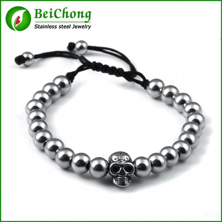 (10 pieces/lot) 316l Stainless Steel Hat Skull bracelet 6mm Bead Black Braided Rope Men Bracelet Bangles Jewelry BW0145