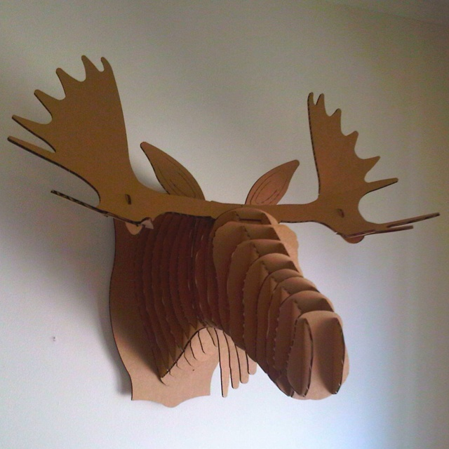 Cardboard moose head for the home pinterest for Free cardboard taxidermy templates