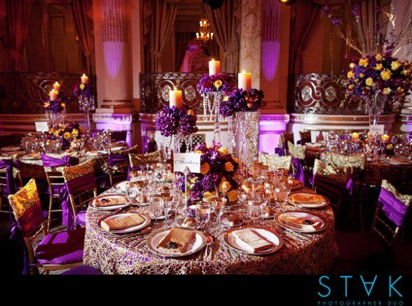 152 best shaddi board images on pinterest wedding ideas wedding purple and gold which color should stand out wedding indian wedding reception tables plaza new york city gold purple fancy 2 junglespirit Choice Image